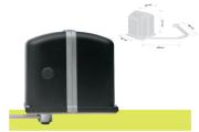 Motoriduttore elettromeccanico irreversibile a braccio articolato per cancelli residenziali a battente